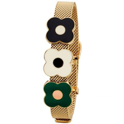 Ladies Orla Kiely Gold Plated Abacus Flower Mesh Bracelet B4988