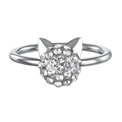 Ladies Karl Lagerfeld Silver Plated Choupette Ring size N 5378069