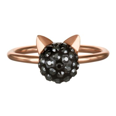 Ladies Karl Lagerfeld Rose Gold Plated Choupette Ring size L 5378074