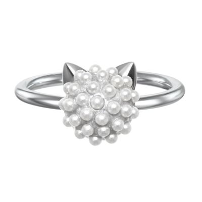 Ladies Karl Lagerfeld Silver Plated Pearl Choupette Ring Size N 5378078
