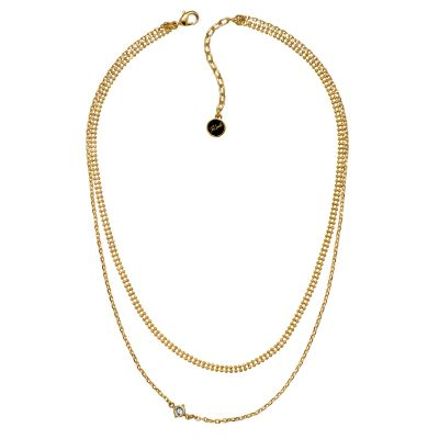 Ladies Karl Lagerfeld Gold Plated Layered Mixed Chain Charm Necklace 5378144