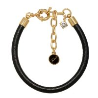 Ladies Karl Lagerfeld Gold Plated Leather Charm Bracelet 5378146
