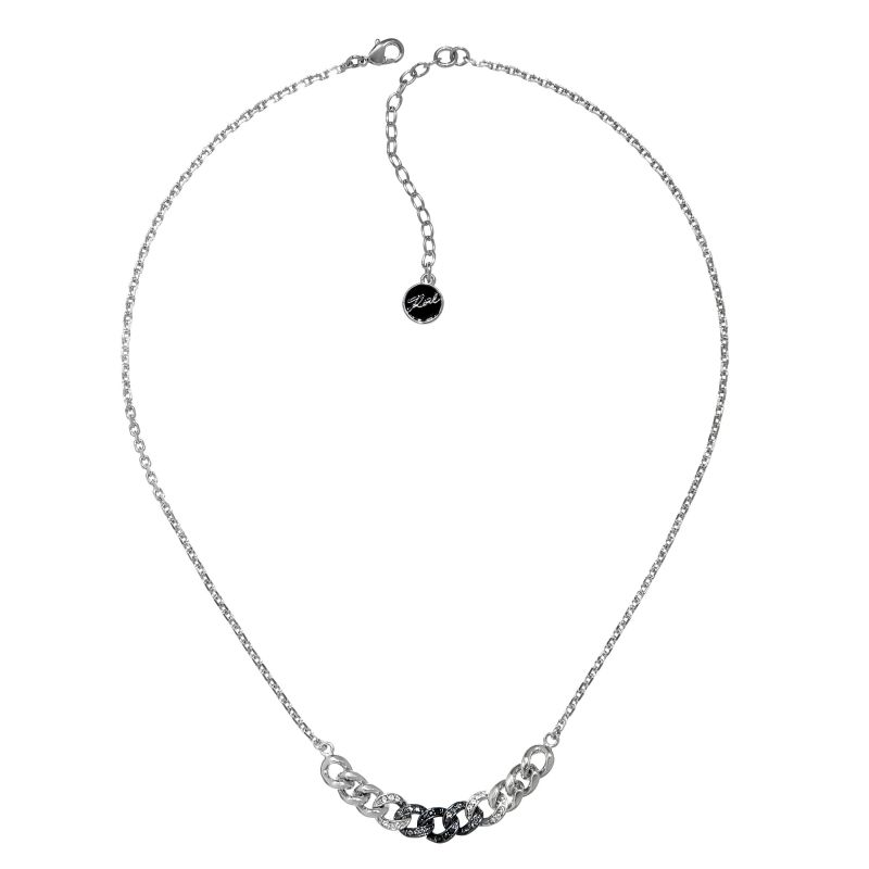 Ladies Karl Lagerfeld Silver Plated Ombre Chain Necklace 5378186