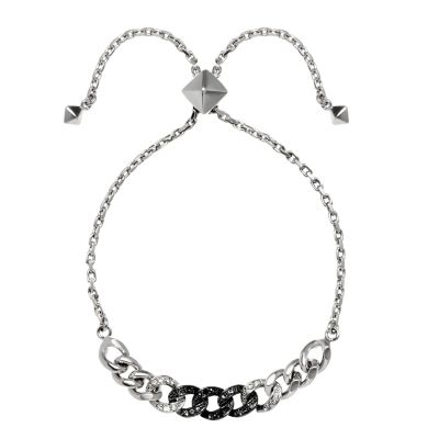 Ladies Karl Lagerfeld Silver Plated Ombre Chain Slide Bracelet 5378190