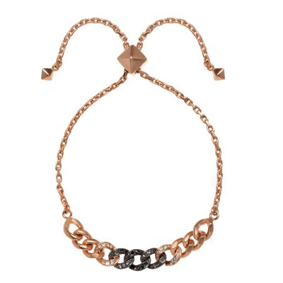 Ladies Karl Lagerfeld Rose Gold Plated Ombre Chain Slide Bracelet 5378356