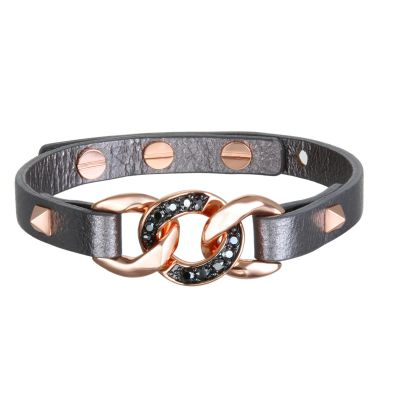 Ladies Karl Lagerfeld Rose Gold Plated Filed Chain Leather Bracelet 5378201