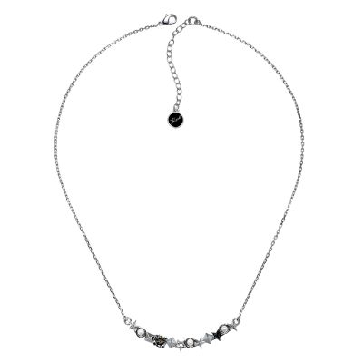Ladies Karl Lagerfeld Silver Plated Eclectic Curved Bar Necklace 5378225