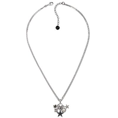 Ladies Karl Lagerfeld Silver Plated Eclectic Stud Charm Necklace 5378226