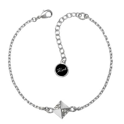 Ladies Karl Lagerfeld Silver Plated Pave Pyramid Bracelet 5378228