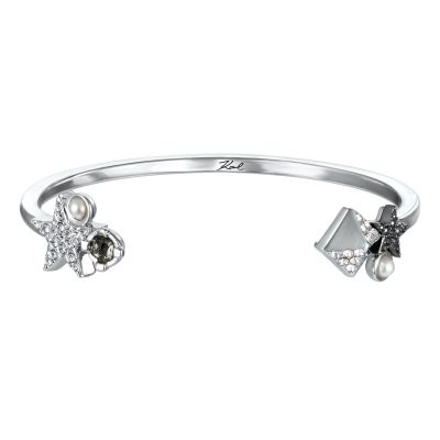 Ladies Karl Lagerfeld Silver Plated Eclectic Stud Cluster Bracelet 5378230