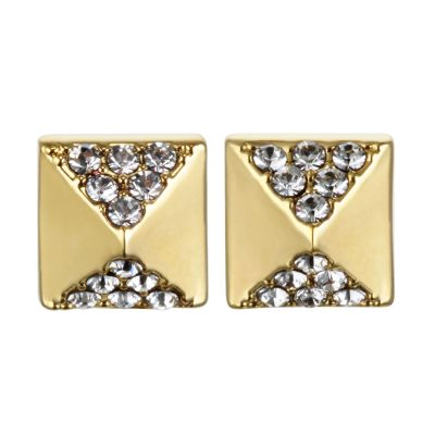 Ladies Karl Lagerfeld Gold Plated Pave Pyramid Earrings 5378312