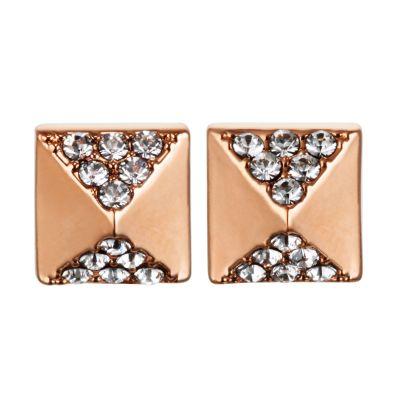 Ladies Karl Lagerfeld Rose Gold Plated Pave Pyramid Earrings 5378313