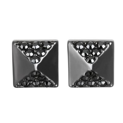 Ladies Karl Lagerfeld Black Ion-plated Steel Pave Pyramid Earrings 5378314