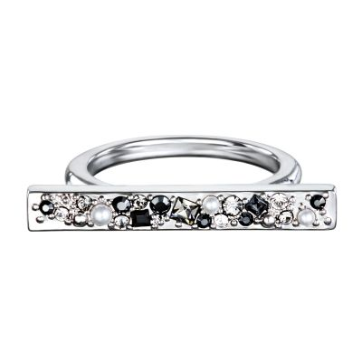 Ladies Karl Lagerfeld Silver Plated Scattered Crystal Bar Ring Size P/Q 5378335