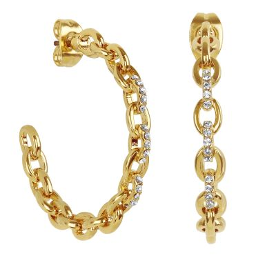 Ladies Adore Gold Plated Fixed Cable Link Hoop Earrings 5375408