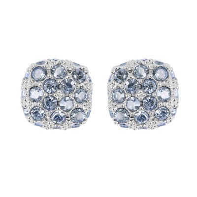 Ladies Adore Silver Plated Pave Cushion Earrings 5375592