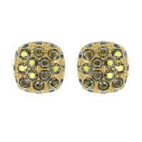Ladies Adore Gold Plated Pave Cushion Earrings 5375593