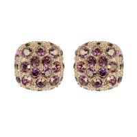 Ladies Adore Rose Gold Plated Pave Cushion Earrings 5375594