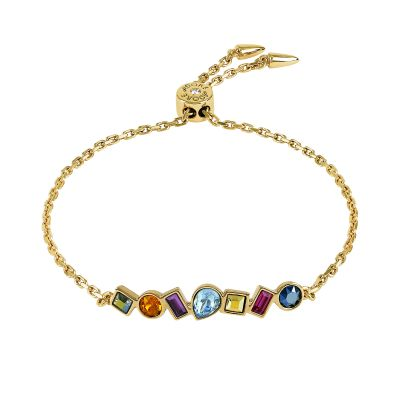 Ladies Adore Gold Plated Mixed Crystal Bar Slide Bracelet 5375518