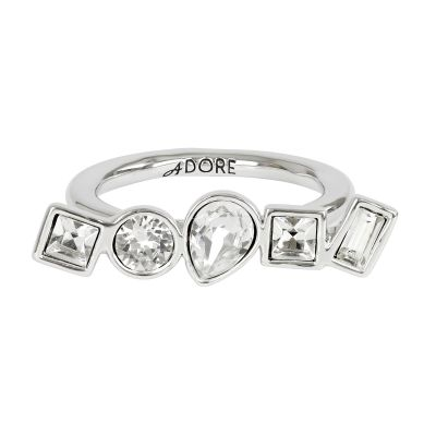 Adore Dam Mixed Crystal Ring Size L Silverpläterad 5375528