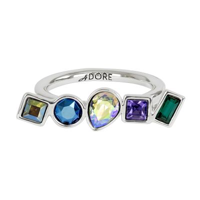 Adore Dam Mixed Crystal Ring Size P/Q Silverpläterad 5375533