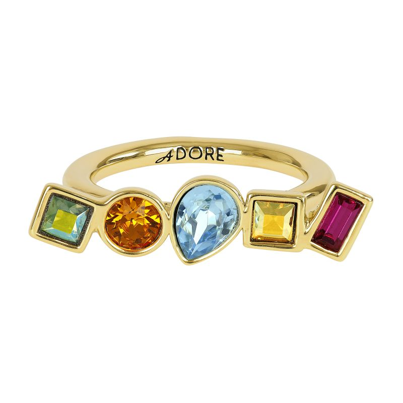Ladies Adore Gold Plated Mixed Crystal Ring Size L 5375534