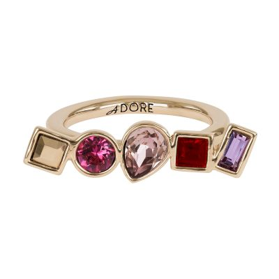Ladies Adore Rose Gold Plated Mixed Crystal Ring Size L 5375537