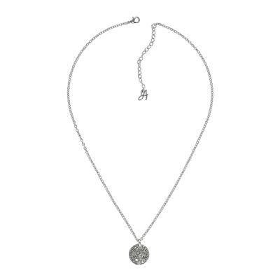 Ladies Adore Silver Plated Small Metallic Pave Disc Necklace 5375477