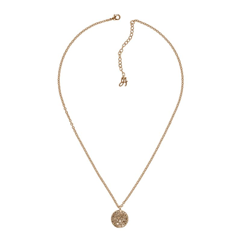 Ladies Adore Rose Gold Plated Small Metallic Pave Disc Necklace 5375479