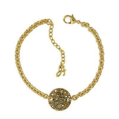 Ladies Adore Gold Plated Small Metallic Pave Disc Bracelet 5375484