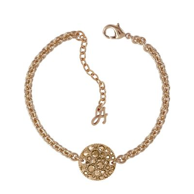 Ladies Adore Rose Gold Plated Small Metallic Pave Disc Bracelet 5375485