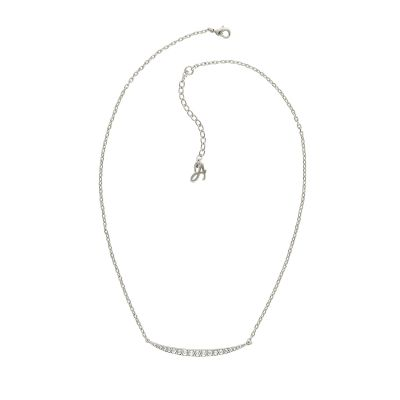 Ladies Adore Silver Plated Curved Bar Necklace 5259849