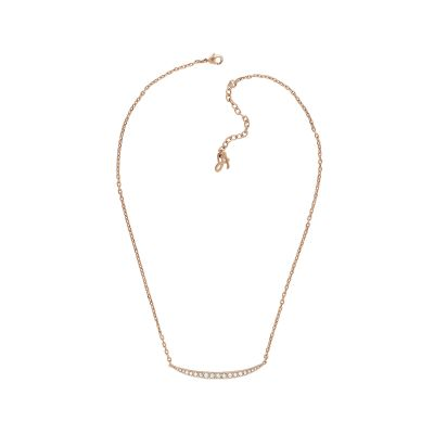 Ladies Adore Rose Gold Plated Curved Bar Necklace 5303129