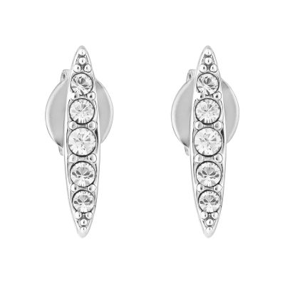 Ladies Adore Silver Plated Pave Navette Stud Earrings 5303123
