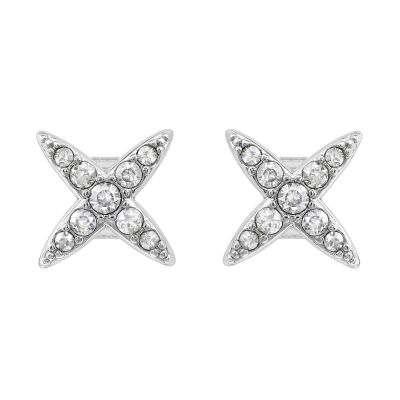 Ladies Adore Silver Plated 4 Point Star Earrings 5259857