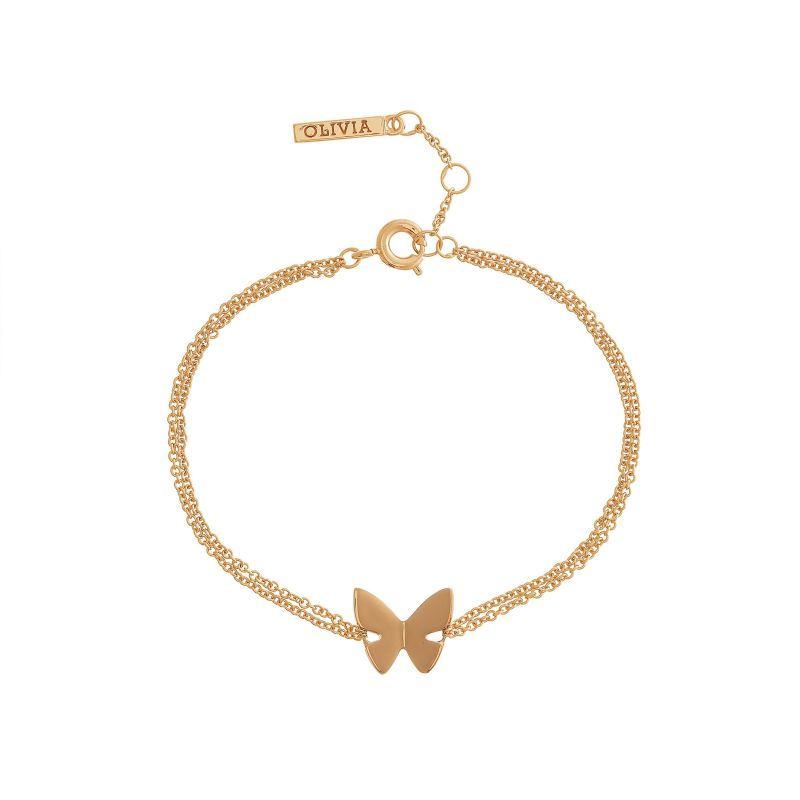 Ladies Olivia Burton Rose Gold Plated Butterfly Chain Bracelet OBJ16SBB01
