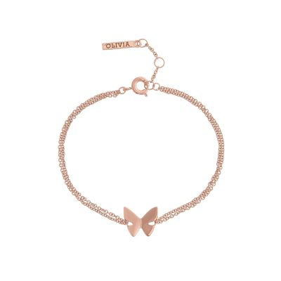 Ladies Olivia Burton Rose Gold Plated Butterfly Chain Bracelet OBJ16SBB02