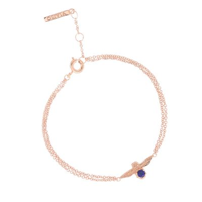 Ladies Olivia Burton Rose Gold Plated Lapis Lazuli Bejewelled Bee Chain Bracelet OBJ16AMB27