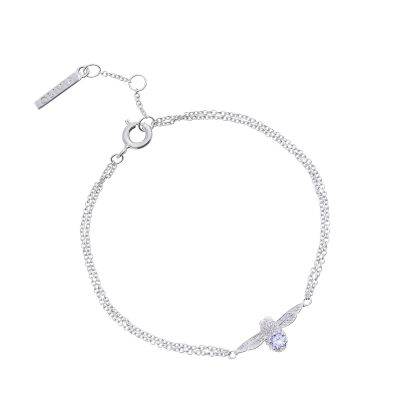 Ladies Olivia Burton Silver Plated Tanzanite Bejewelled Bee Chain Bracelet OBJ16AMB28