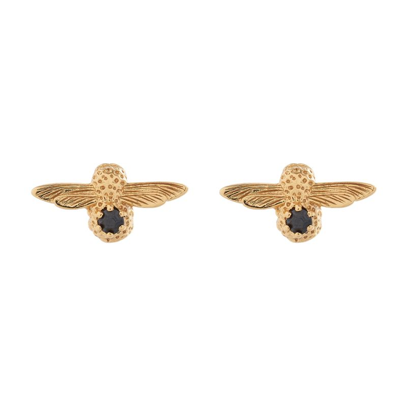 Ladies Olivia Burton Gold Plated Sterling Silver Black Onyx Bejewelled Bee Stud Earrings OBJ16AME25
