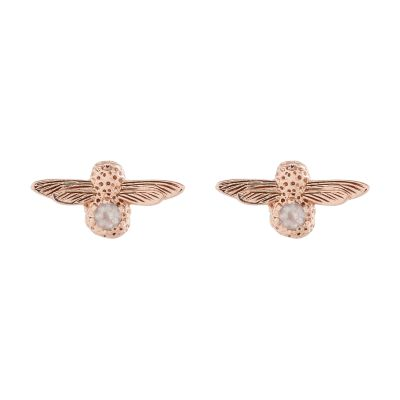 Biżuteria damska Olivia Burton Jewellery Sterling Silver Rose Quartz Bejewelled Bee Stud Earrings OBJ16AME26