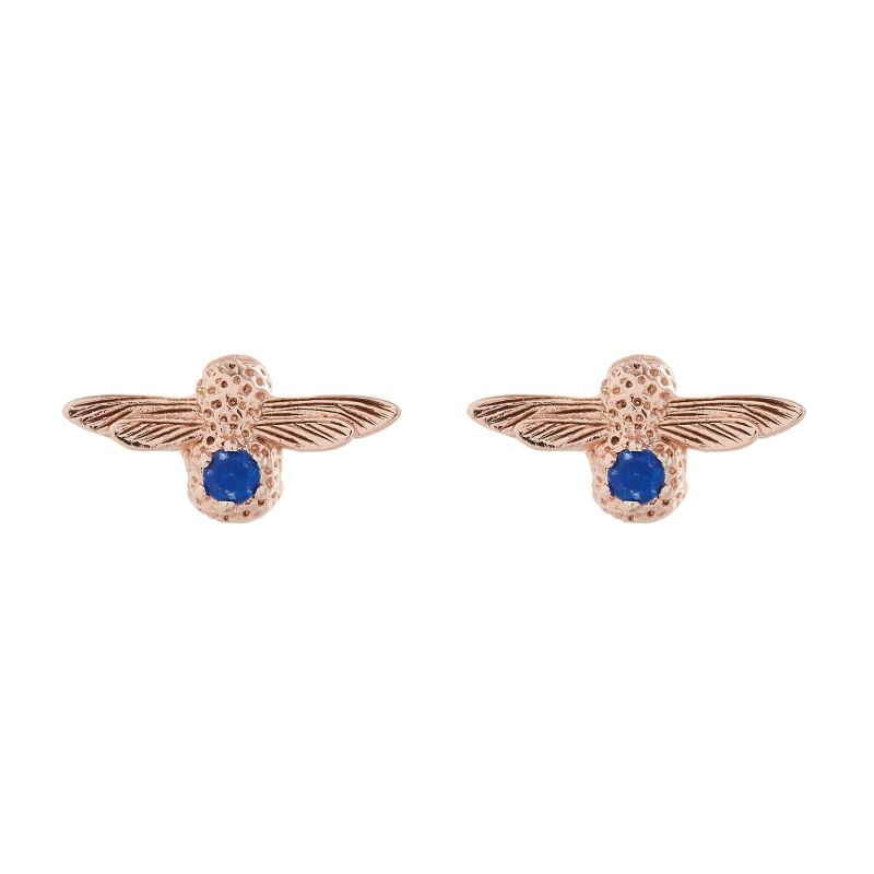 Ladies Olivia Burton Rose Gold Plated Sterling Silver Lapis Lazuli Bejewelled Bee Stud Earrings OBJ16AME27