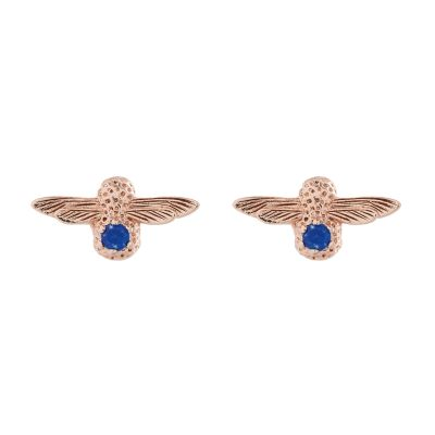 Biżuteria damska Olivia Burton Jewellery Sterling Silver Lapis Lazuli Bejewelled Bee Stud Earrings OBJ16AME27