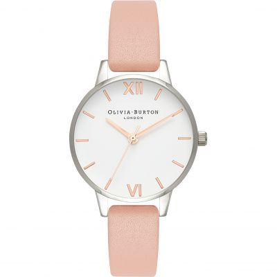 White Dial Dusty Pink Silver & Rose Gold Watch