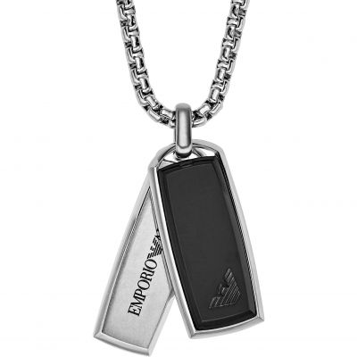 Mens Emporio Armani Stainless Steel Signature Pendant - Short Necklace EGS2290040