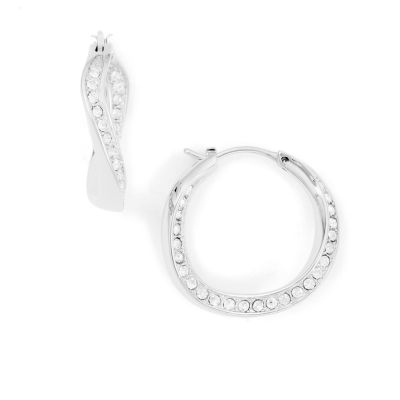 Ladies Fossil Silver Plated Hoop Earrings JF01144040