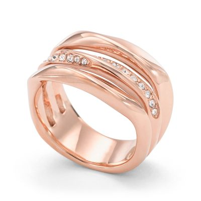 Ladies Fossil Rose Gold Plated Size P Ring JF01321791508