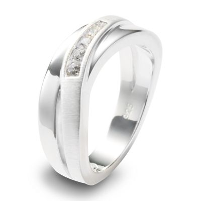 Ladies Fossil Silver Plated Size M.5 Ring Size L.5 JF12766040505