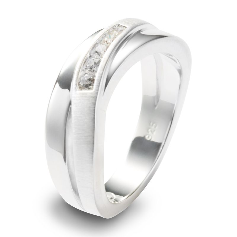 Ladies Fossil Silver Plated Size P Ring JF12766040508