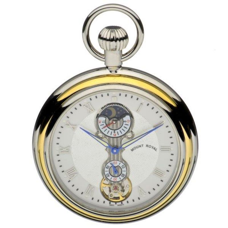 Mount Royal Open Face Sun Moon Pocket Mechanical Watch